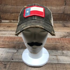 Texas Flag Mason Jar Label Distressed Snap Back